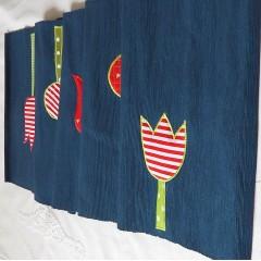 Štóla/obrus - Modrá s tulipánmi