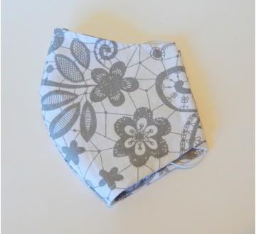 Bavlnené rúško - Kvety  - bielo-sivá
